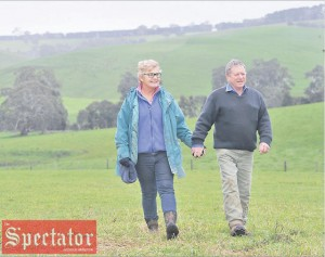 WANDO Bridge cattle farmers Andrew and Juddie Beaton, who are calling for Wannon MP Dan Tehan to change his mind on same-sex marriage, on their farm near Casterton. Photo: JUDY DE MAN.