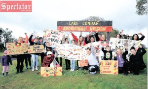 A GROUP of Gunditjmara people protest on Saturday morning against a keeping place and business centre that Gunditj Mirring Traditional Owners Aboriginal Corporation has proposed to build at the Lake Condah Mission. Photo: BILLY EASSON.