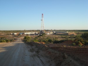 Beach Energy's gas drilling rig in the Cooper Basin, South Australia. Photo: Beach Energy.