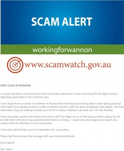 a 'Scam Alert' uploaded to Wannon MP Dan Tehan's website on September 10